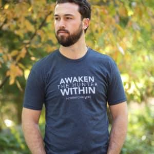 Awaken The Hunter Within T-shirt Men's Blue