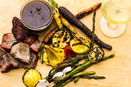 smoked-pork-grilled-veggies-rhubarb-chutney-recipe