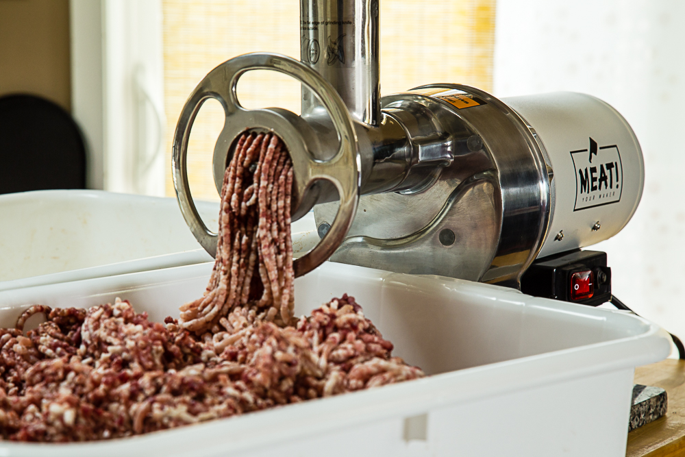 Venison Chorizo being made with a good meat grinder